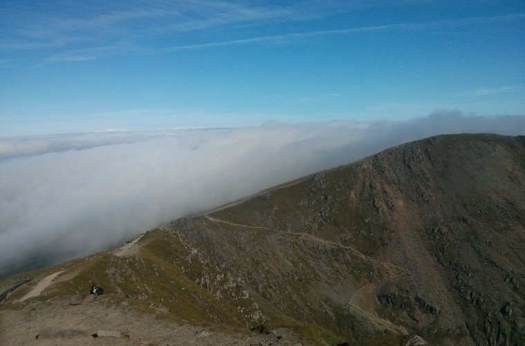 Climbers walk up Mt Snowdon