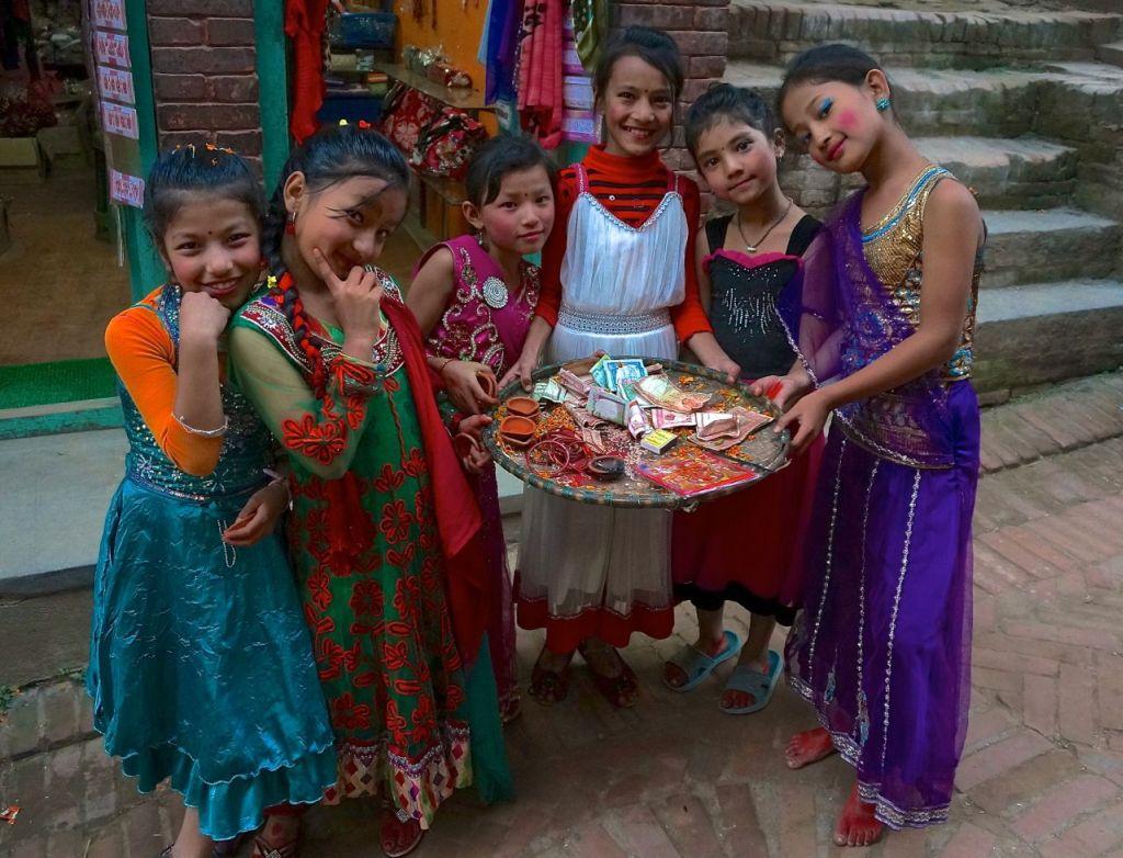 Girls celebrate Diwali in Bhaktapur, Nepal