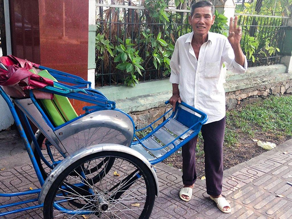 A friendly cyclo driver Saigon Vietnam