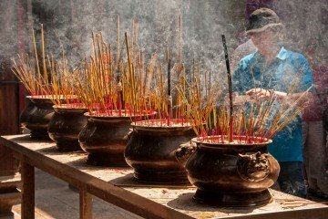 Incense at the Altar of Thiên Hâu Temple, Saigon, Vietnam
