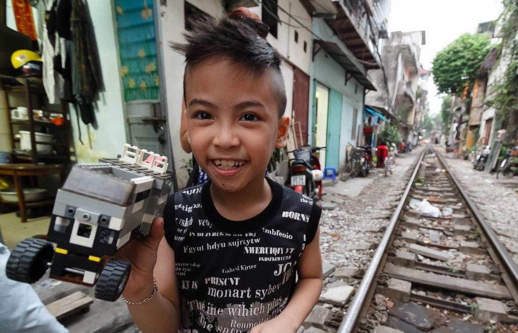 Kid on the Railways in Hanoi