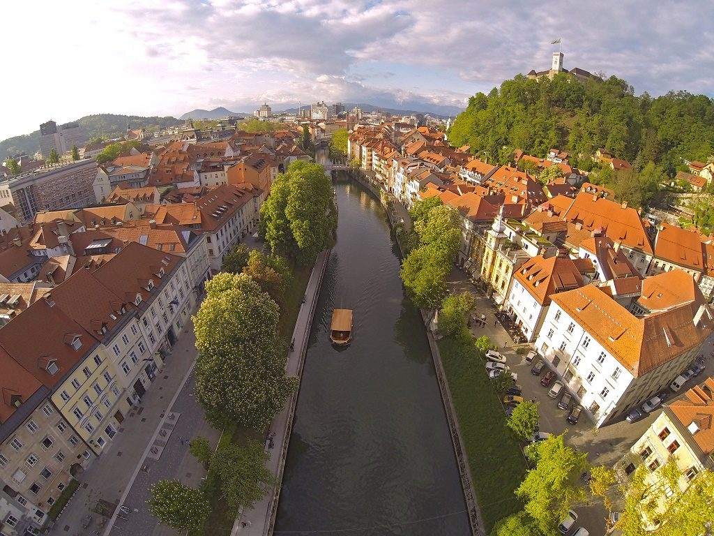Aerial photo of Ljubljana, capital of Slovenia.