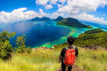 Borneo Sabah view of island trekking