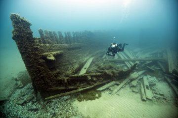 Lucinda Van Valkenburg which sank just outside Thunder Bay in 1887. Photo: Tane Casserley/NOAA
