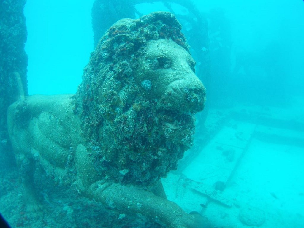 Lion at Neptune Memorial Reef. Photo: Todd Murray via Wikimedia Commons
