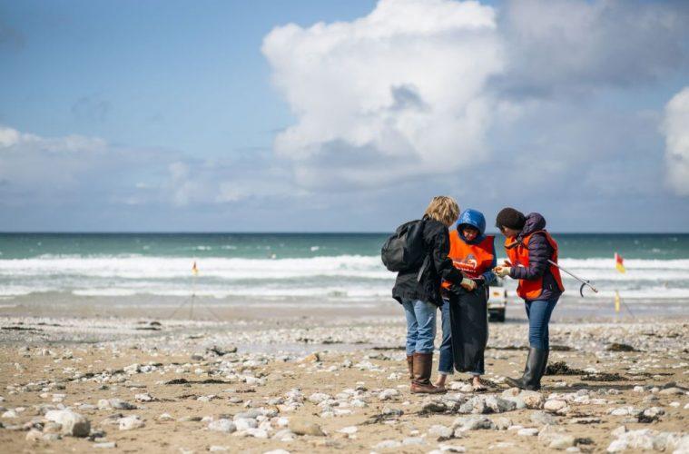 Plastic bags on beach, UK
