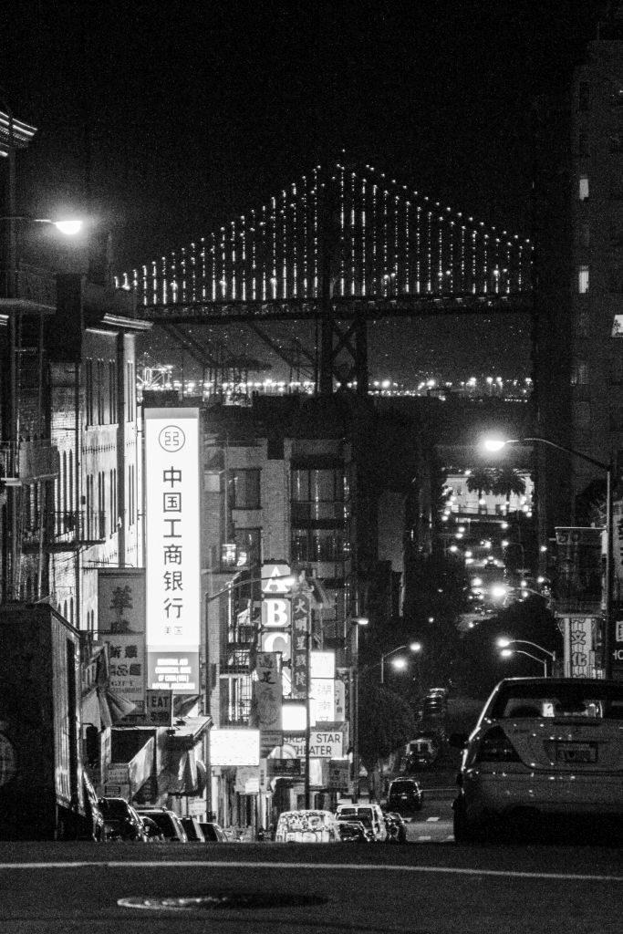 Chinatown at night, looking east at the Bay Bridge, San Francisco