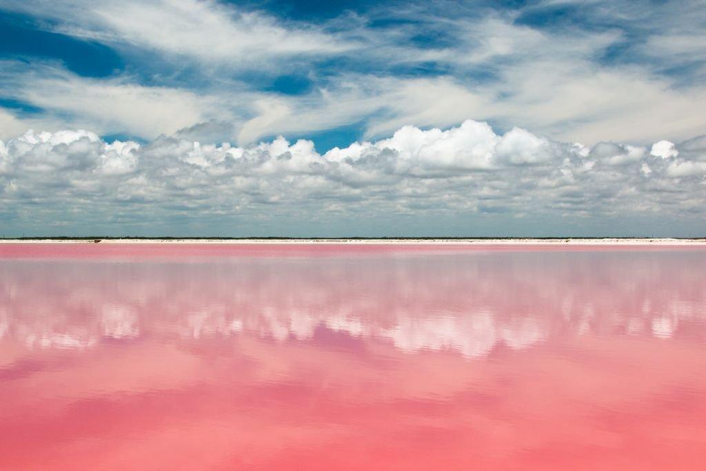 Pink lagoon lake at las Coloradas, Mexico