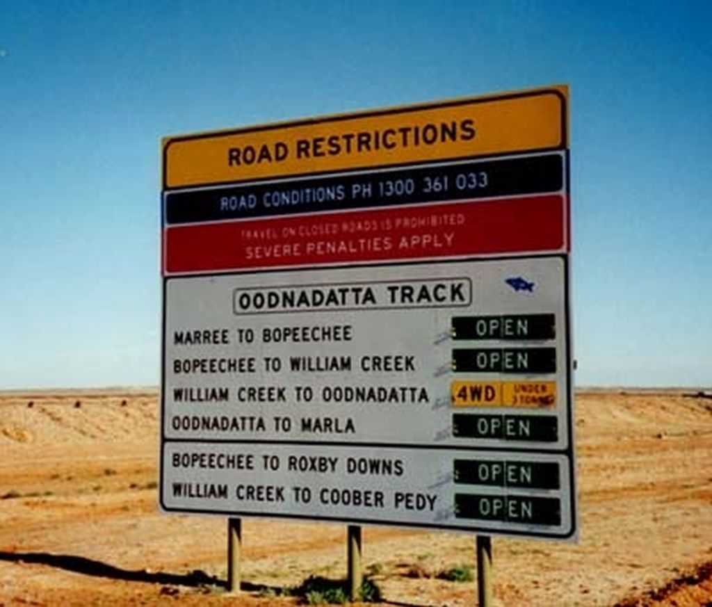 Oodnadatta track road restrictions