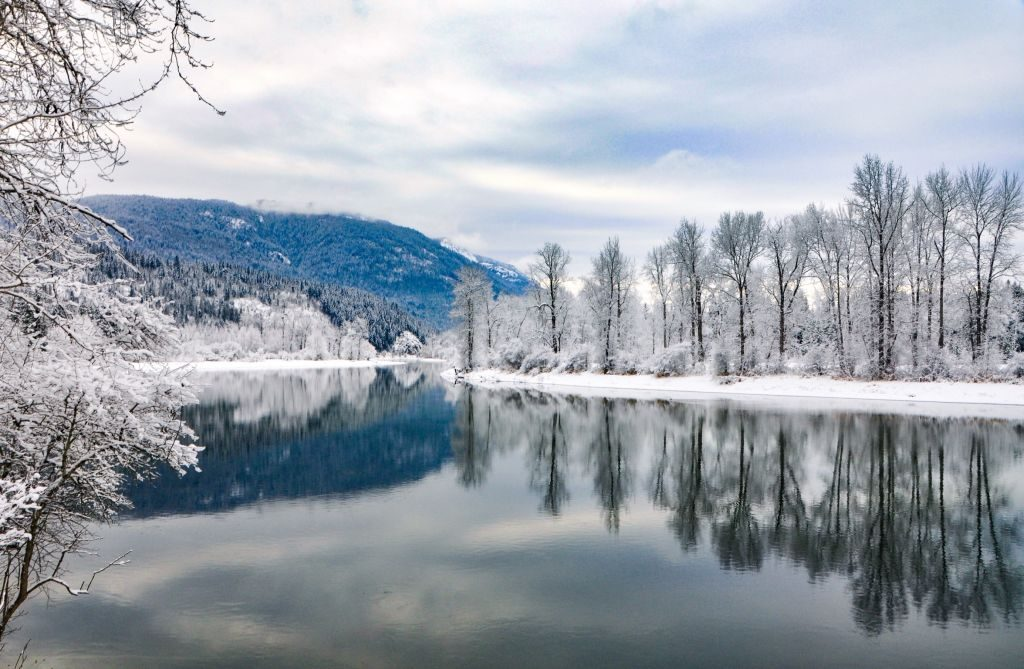 Canada: In the heart of British Columbia near Shuswap, the pale whites and blues reflecting off the river was a sight to behold