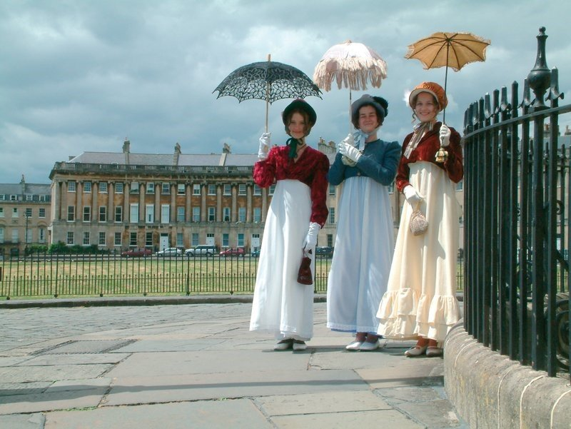 UK Three women in period costume at the Jane Austen Festival in Bath - c. VisitBath