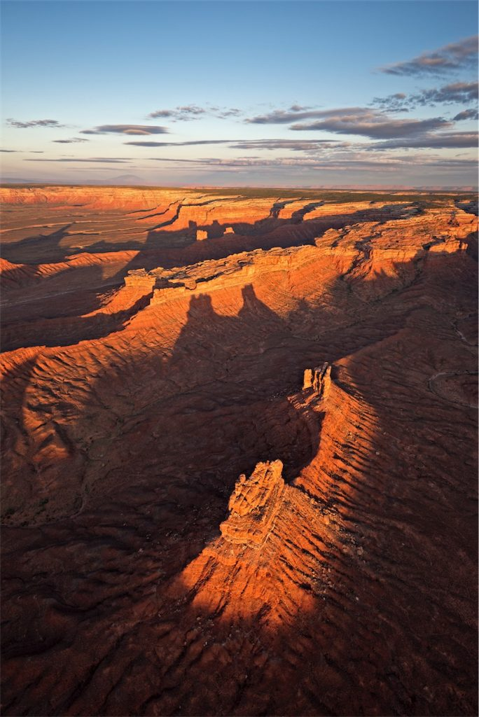 Valley of the Gods, seen at first light from the air.