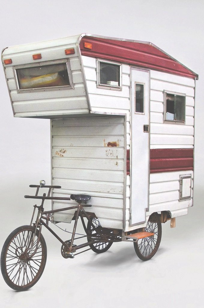 Camper Bike, Kevin Cyr, USA, 2008. Tricycle, corrugated aluminium, Plexiglas, plywood, timber. Picture credit: Kevin Cyr (page 164)