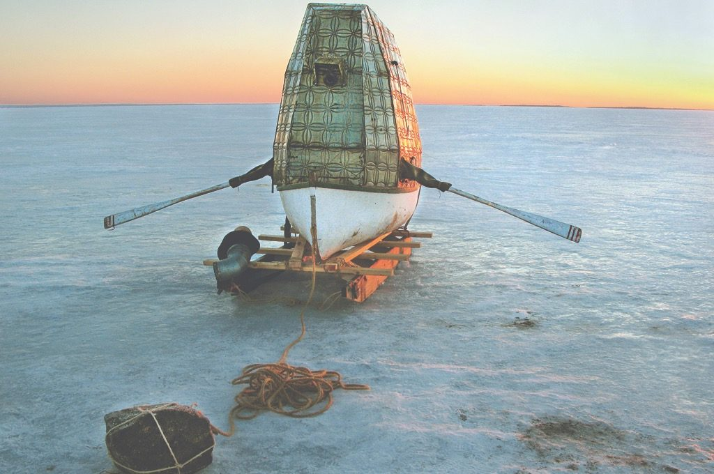 One Eye Folly, Donald Lawrence, Canada, 2008. Timber, rowboat, plastic, rope, stone, microphones, hydrophone, timber sledge. Picture credit: Donald Lawrence