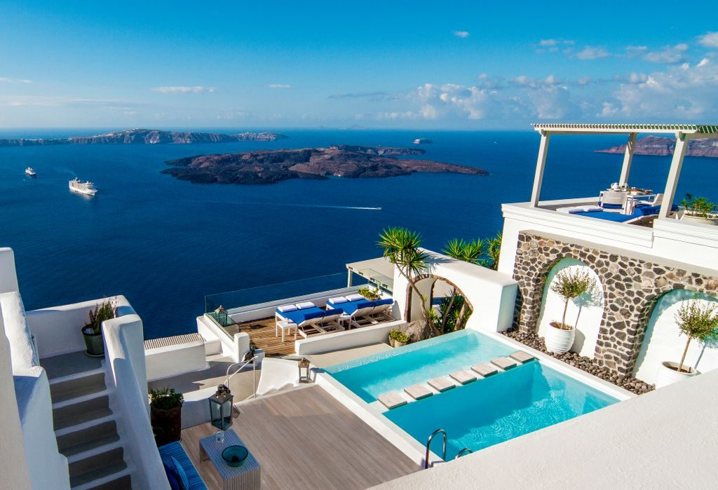 Iconic Santorini pool view