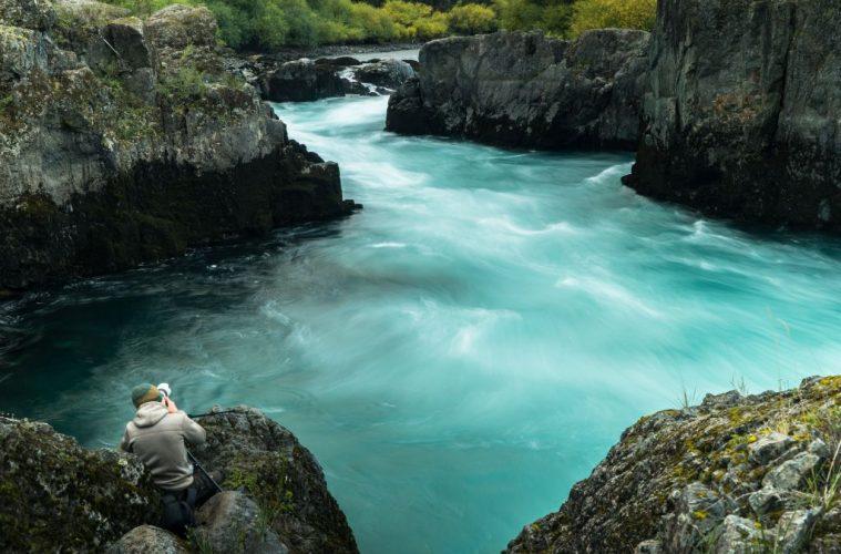 Aljoscha filming rapids along the Futaleufu. Chile travel photography