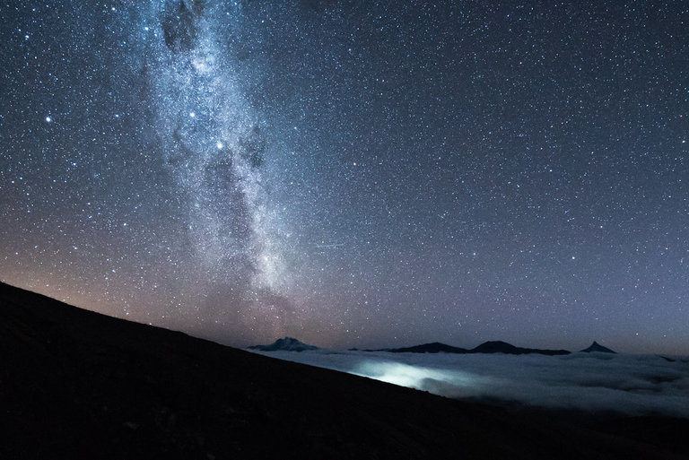 Milky way above the clouds in Puyehue National Park Chile