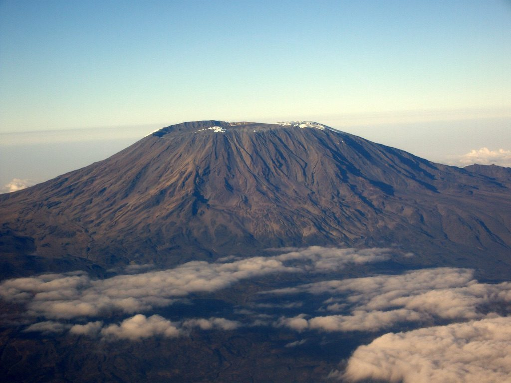 Mount Kilimanjaro from above at dawn