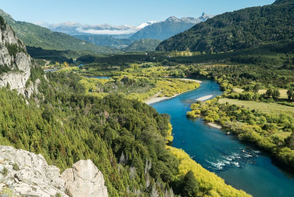 The famous Futaleufu River in Patagonia chile landscape