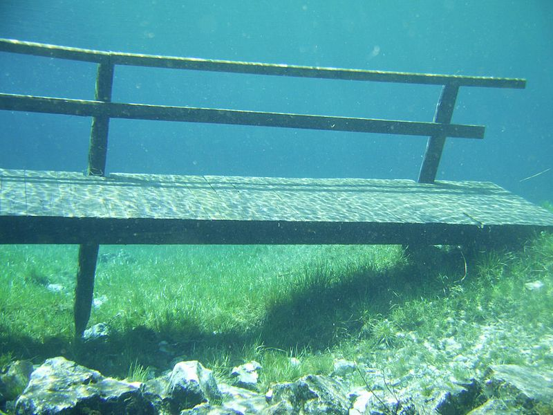 Green Lake Austria submerged bench