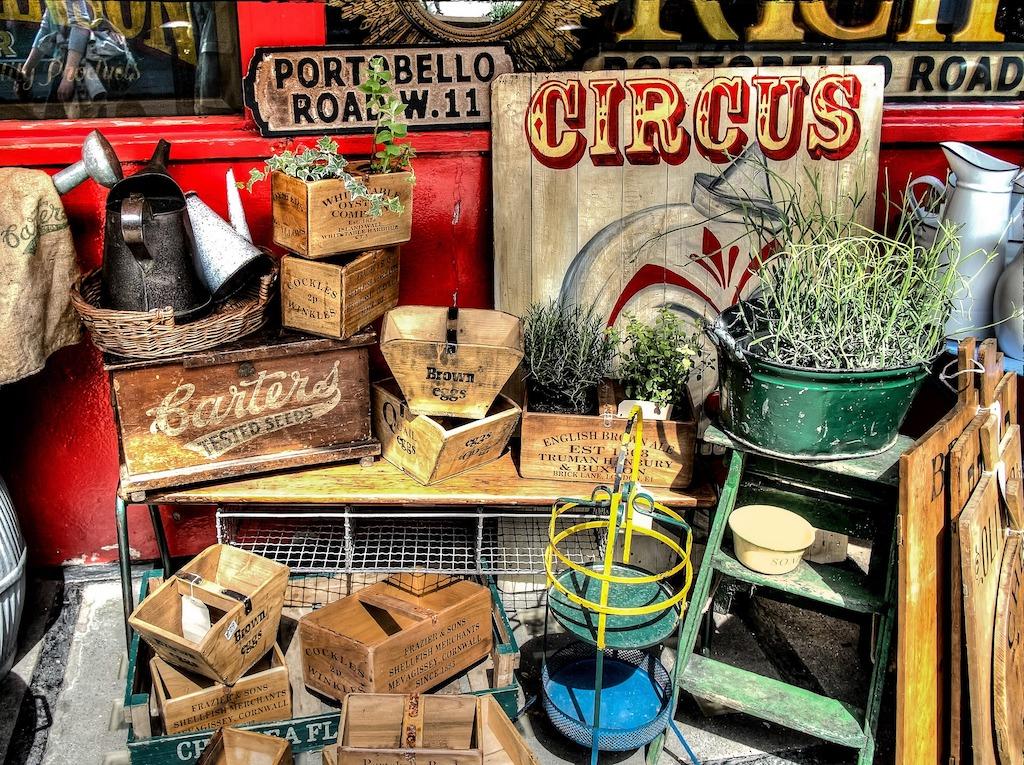Goods displayed on Portobello Road