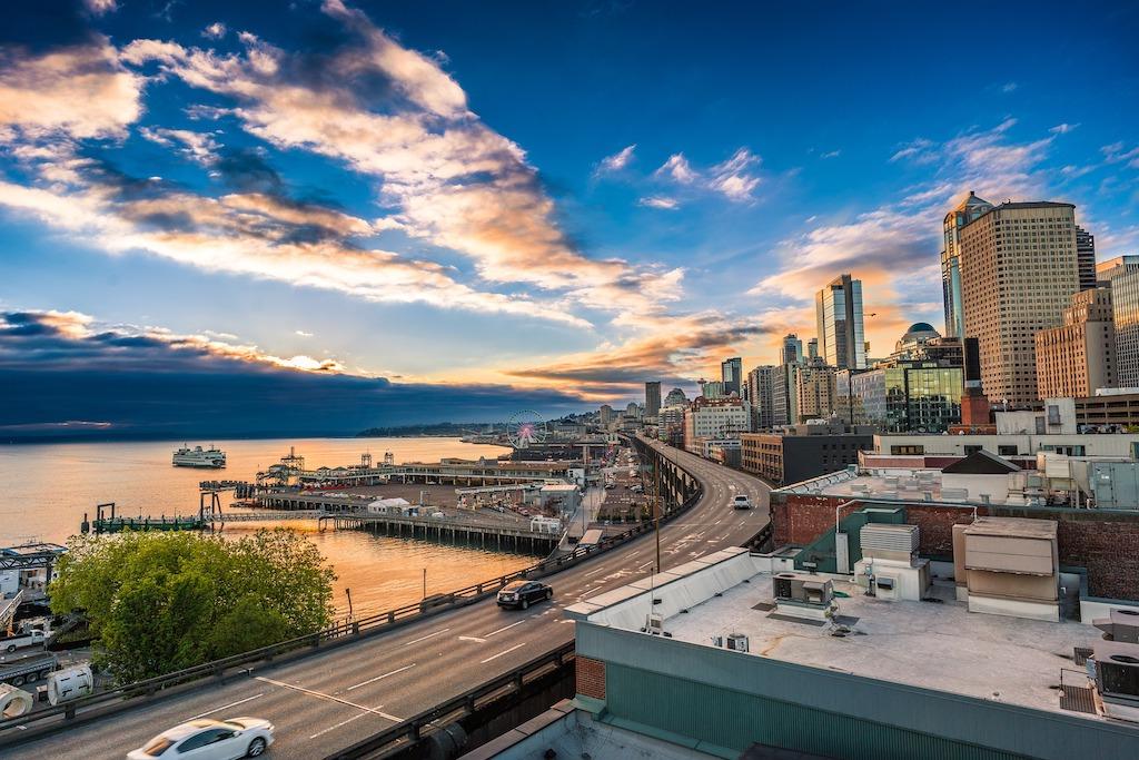Seattle Sunset on Marina Harbor