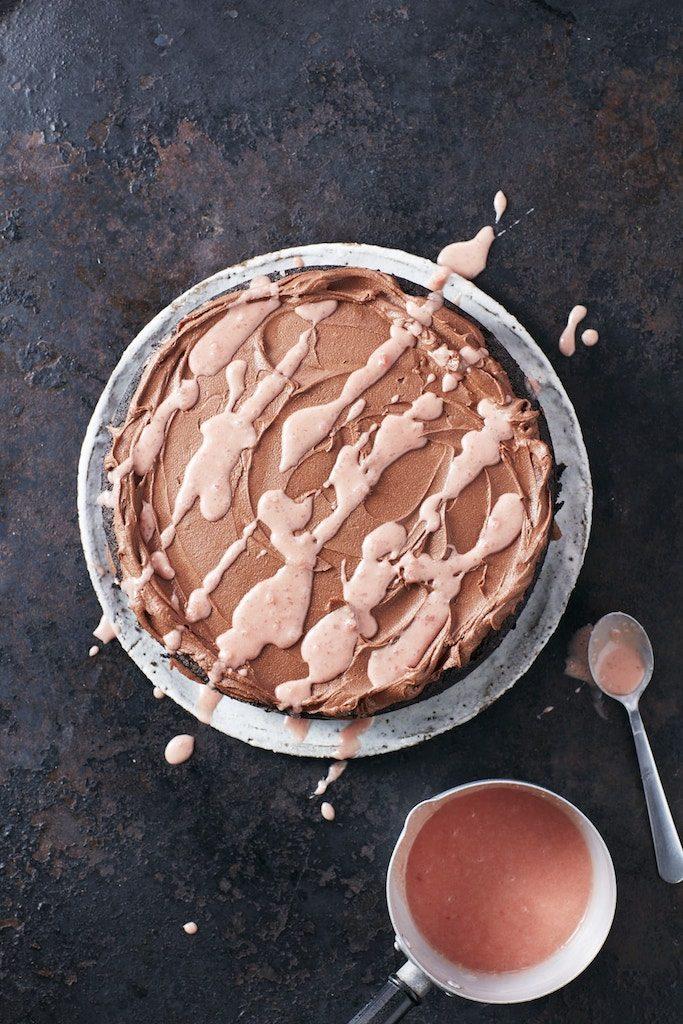 SALTED CARAMEL, CHOCOLATE & BEETROOT FUDGE CAKE