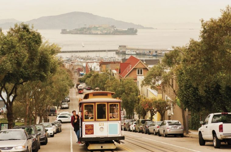 A cable car on Hyde Street in San Francisco.