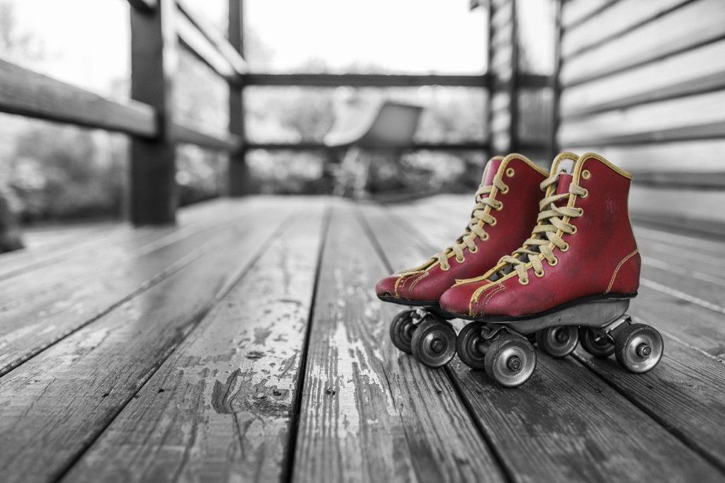 Red vintage roller skates