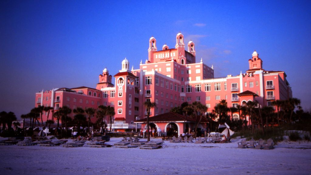 The pink palace is revered even more for its location on the shoreline