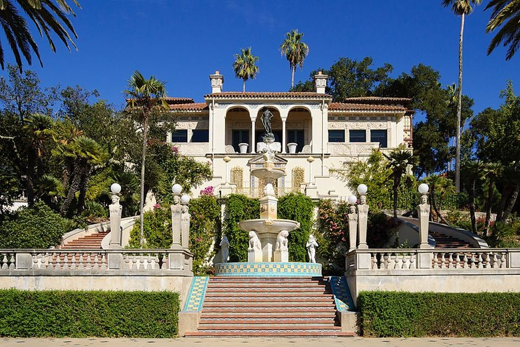 Hearst castle is known for its harmonious white towers
