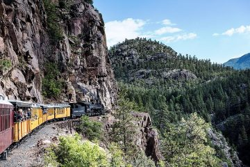 Train in Colorado Mountains american trip