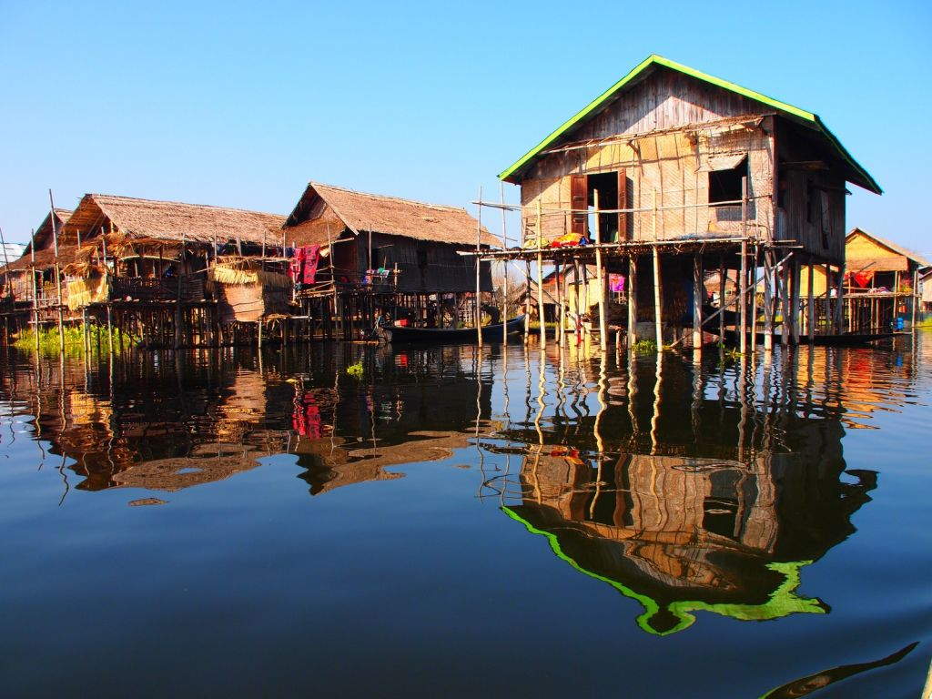 Houses in Inle Lake are held up by bamboo stilts.