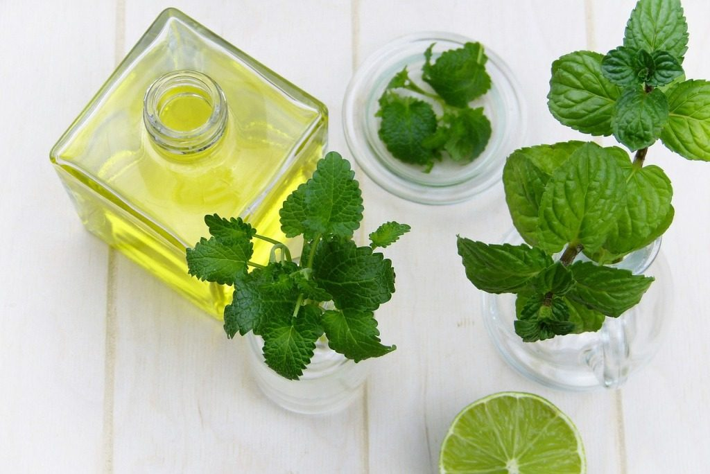 Peppermint oil with peppermint leaves around it