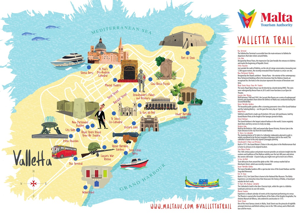 Malta travel Valletta City Break Map