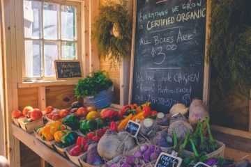 Organic produce in a market stall/stand zero waste lifetyle