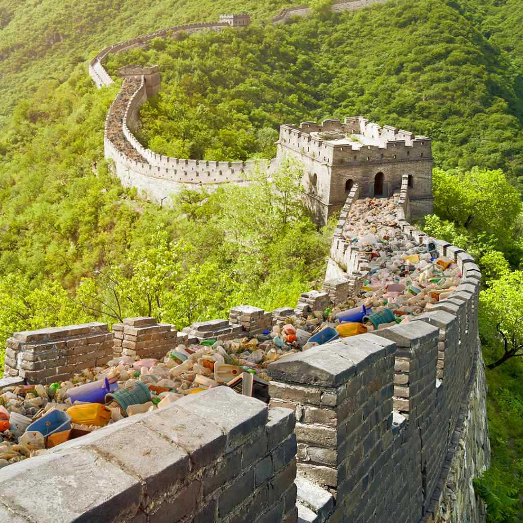 Great Wall of China covered in plastic