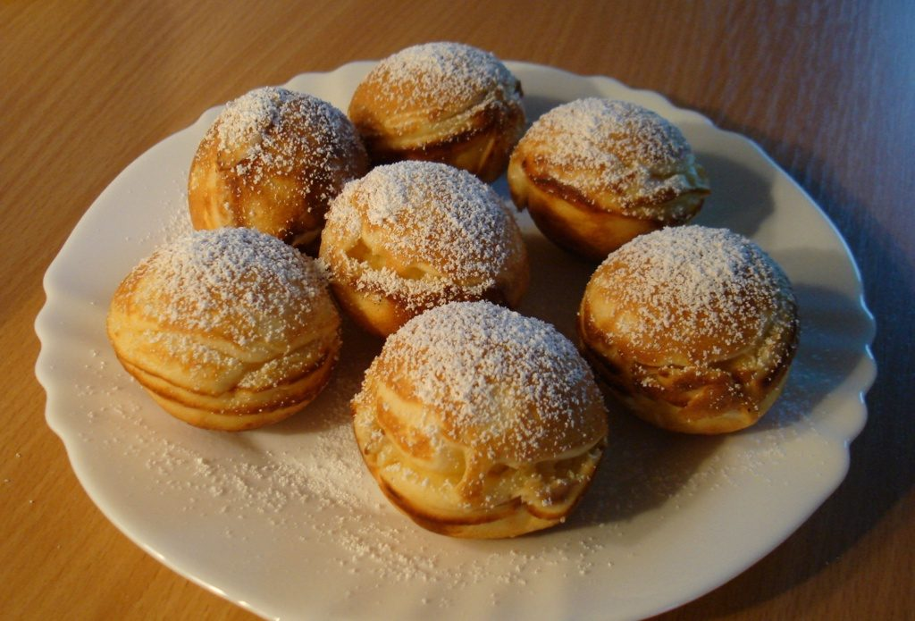 Seven Aebleskiver in a white plate Denmark food