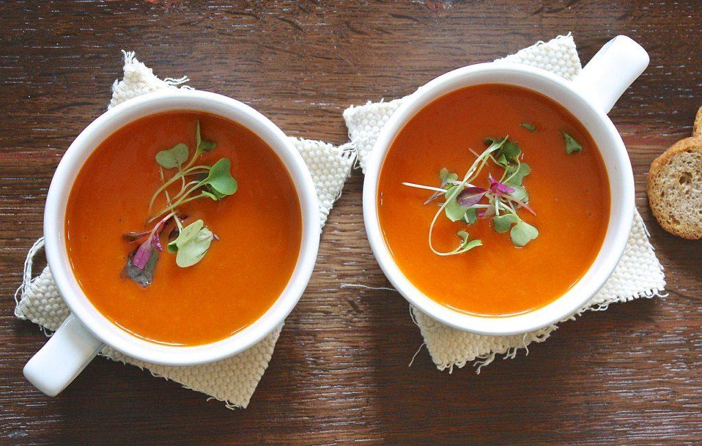 Two white gazpacho bowls spain food
