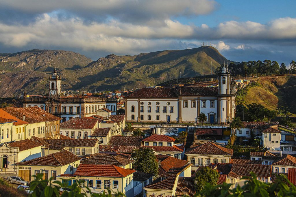 The city of Ouro Preto in Minas Gerais, Brazil seen from above