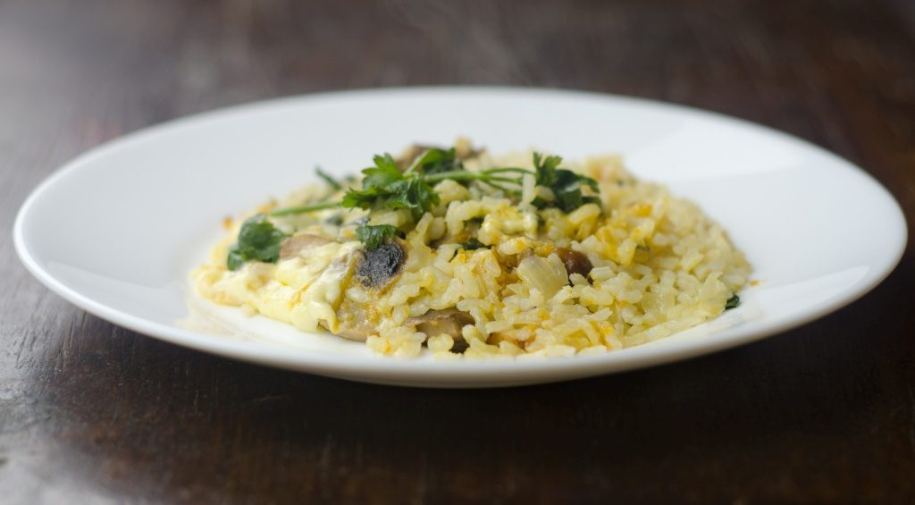 A plate of risotto Italian food