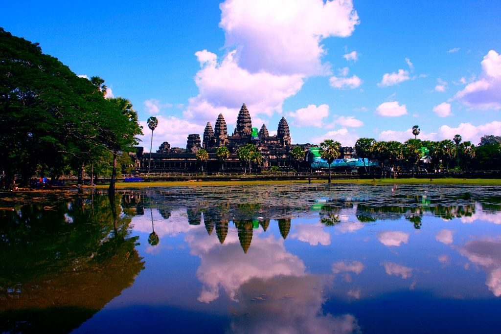 Angkor Wat ruins and lake reflection in Cambodia, Southeast Asia