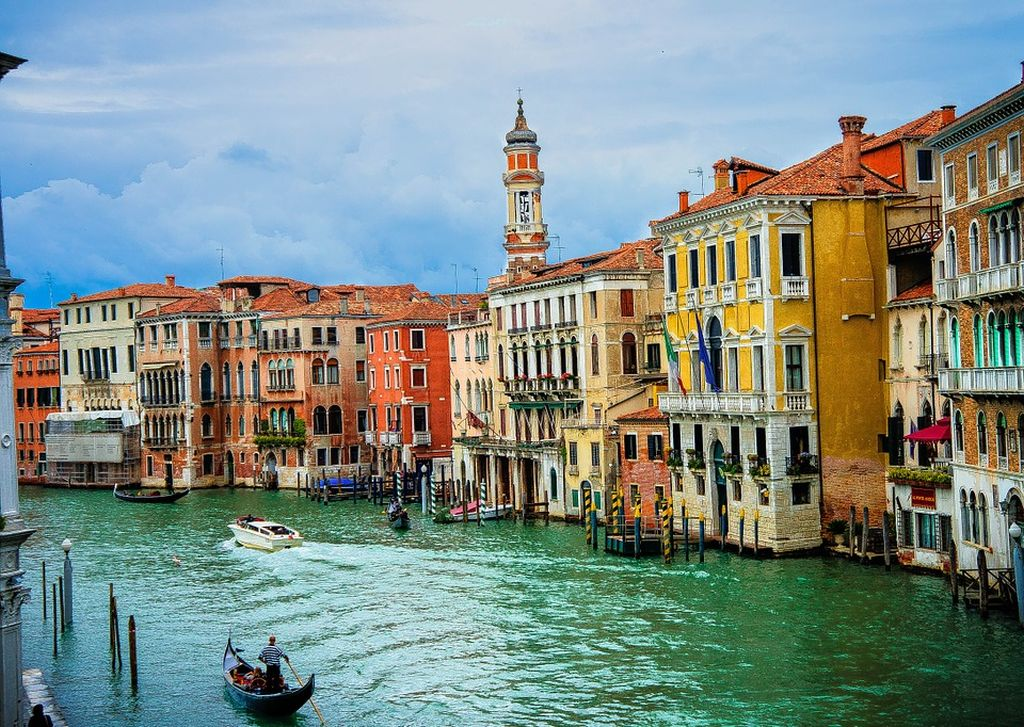 Venice and its Italian canals with the gondolas