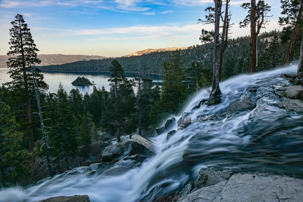 A stunning view of South Lake Tahoe from Eagle Falls. Photo via Unsplash hiking