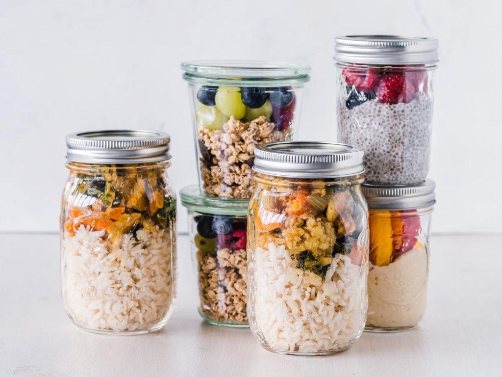 Food in Mason jars