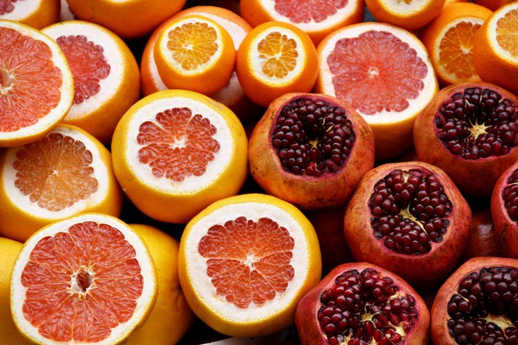 Peeled citrus fruits