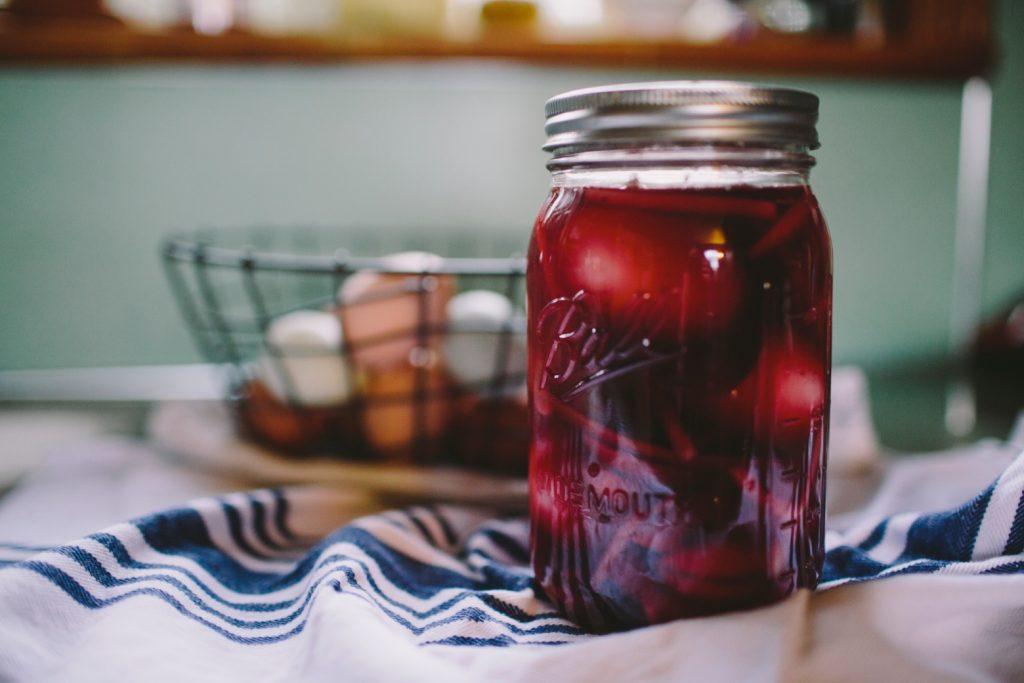 red liquid in mason jar