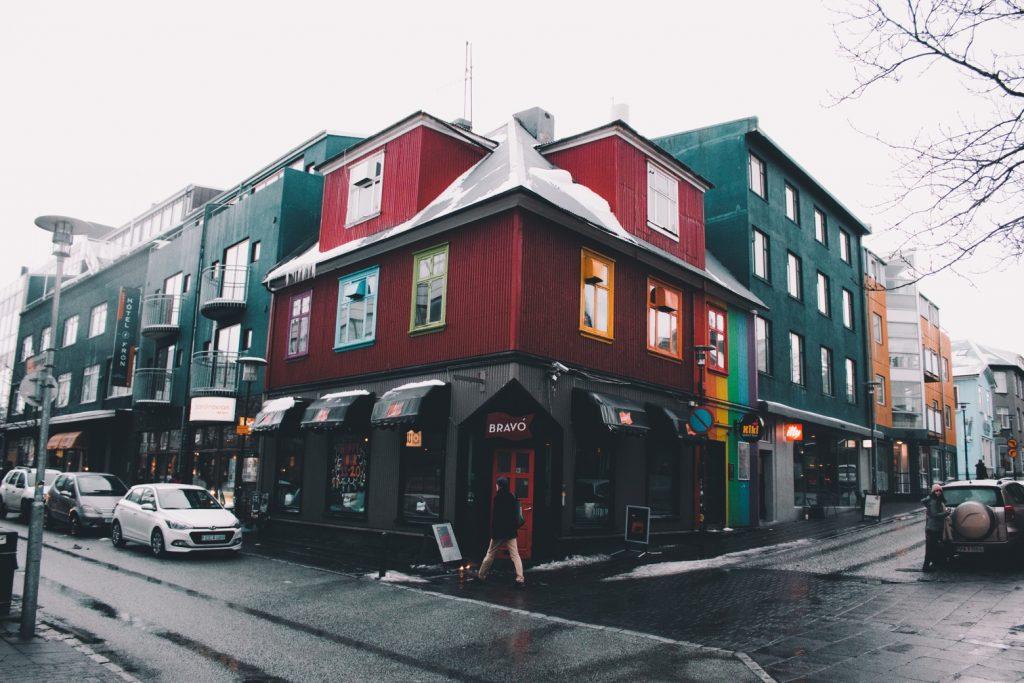 City street in Reykjavik, Iceland