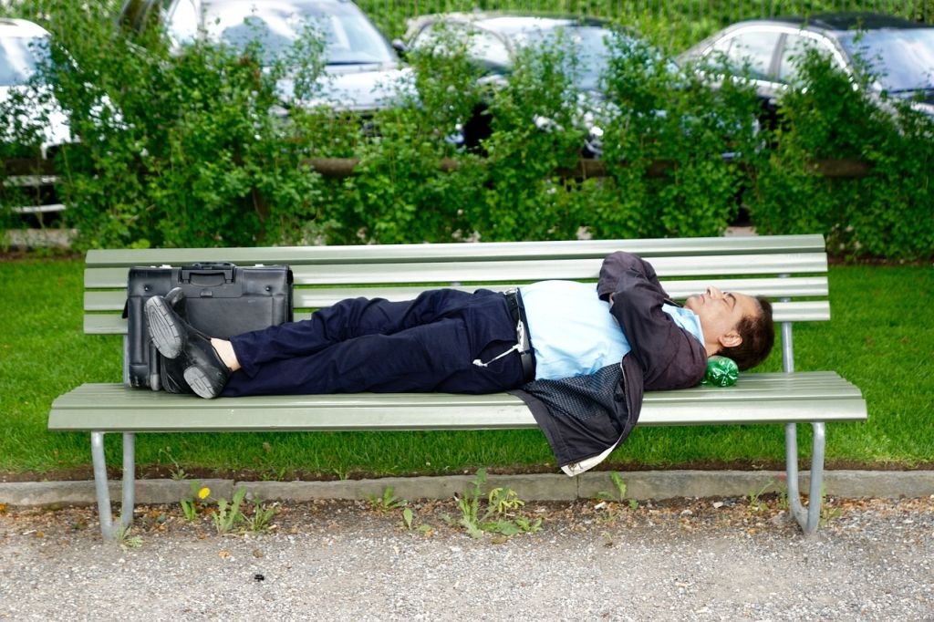 sleep park bench
