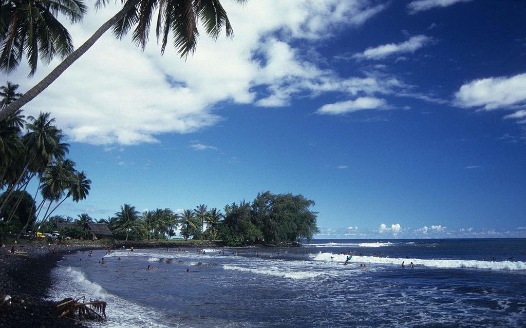 Black volcanic beach in Tahiti